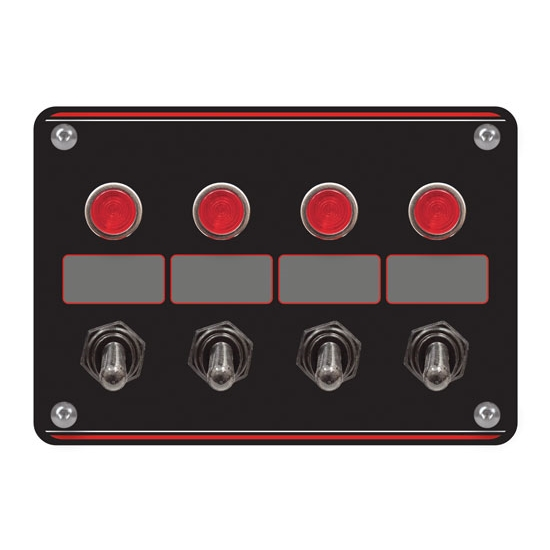 Longacre 44865 4 Switch Accessory Panel with 4 Pilot Lights