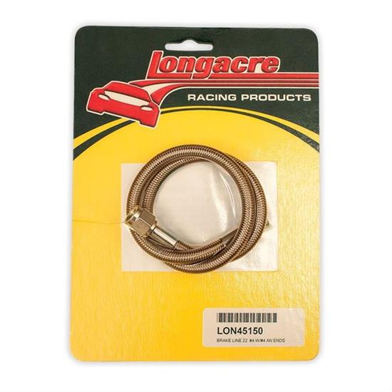 Longacre® 52-45150 Brake line - 22 in #4 w/ #4 AN both ends