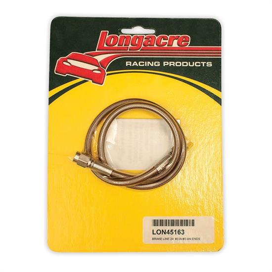 Longacre 45163 Brake line - 24 in. #3 w/ #3 AN both ends