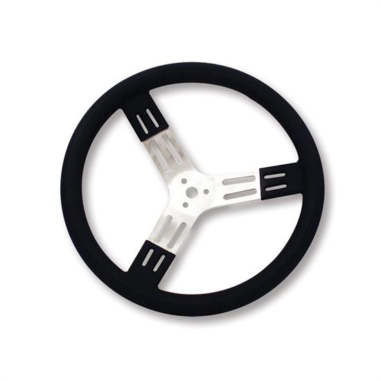Longacre 56801 15 in. Aluminum Steering Wheel. Smooth, Black