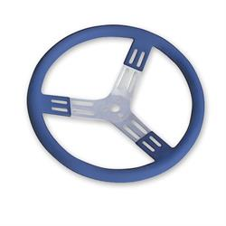 Longacre 56803 15 in. Aluminum Steering Wheel. Smooth, Blue