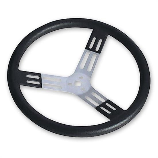 Longacre 56811 17 in. Aluminum Steering Wheel. Smooth, Black