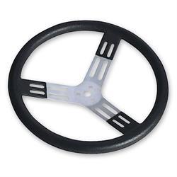 Longacre 56811 17 in. Aluminum Steering Wheel. Smooth, Black