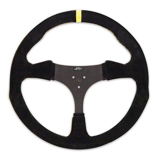 Longacre 56829 13 in. Suede Flat Kart Steering Wheel