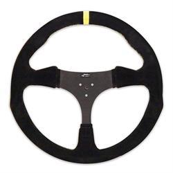 Longacre 56829 13 in. Suede Flat Kart Steering Wheel