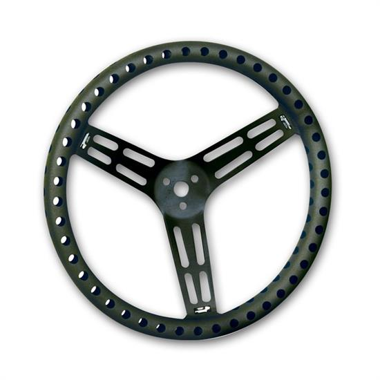 "Longacre 52-56833 14"" Alum. Steering Wheel, Drilled, Dished, Blk"