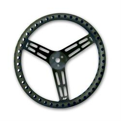 Longacre 56833 14 in. Aluminum Steering Wheel, Drilled, Dished, Black