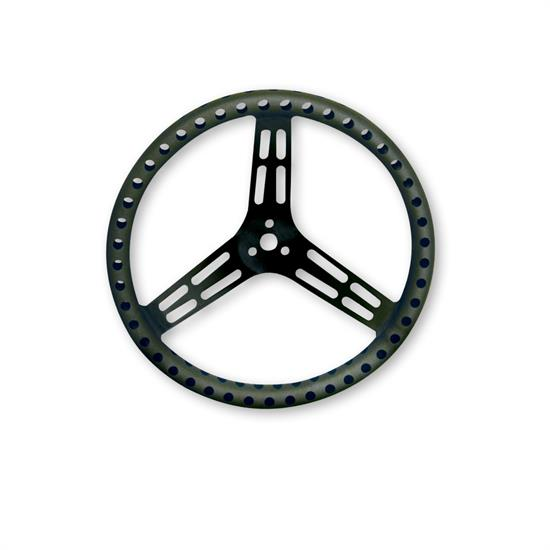 Longacre Racing Products Steering Wheel 15in Dished Drilled Black 56838