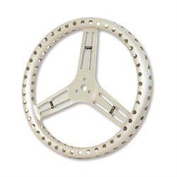 Longacre 56866 15 in. Uncoated Aluminum Steering Wheel, Drilled, Flat