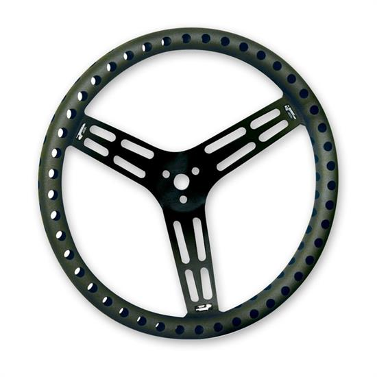 Longacre 56867 15 in. Uncoated Alum Steering Wheel, Drilled, Flat, Black