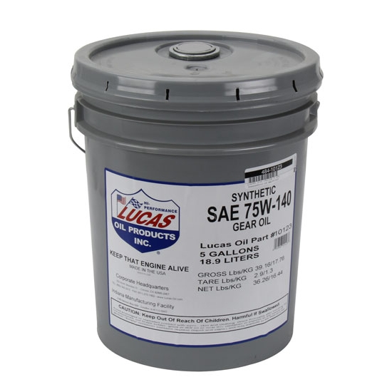 Lucas Oil 10123 SAE 75W140 Synthetic Racing Gear Oil, 5 Gallon