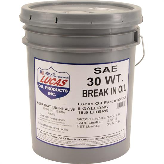 Lucas Oil 10630 SAE 30 Engine Break-In Oil 5 Gal