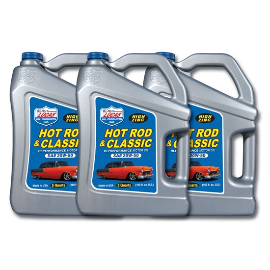 Lucas Oil 10684 SAE 20W50 Hot Rod Engine Oil, Three 5 Quart Jugs