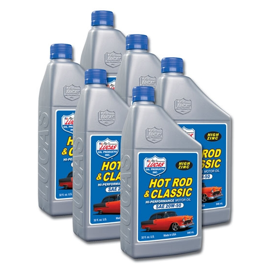 Lucas Oil 10689 SAE 20W50 Hot Rod Engine Oil, 6 Quart Case