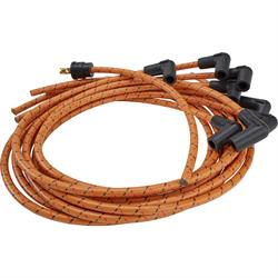 Lokar PW-1001 Cloth Covered Spark Plug Wire, Tan/Red-Black Tracer