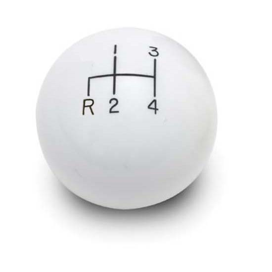 Lokar SK-6891 4-Speed White 2 Inch Shift Knob, 3/8-24, 3/8-16 Thread