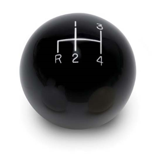 Lokar SK-6892 4-Speed Black 2 Inch Shift Knob, 3/8-24, 3/8-16 Thread