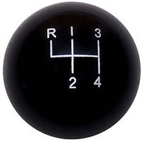 Lokar SK-6895 4-Speed Black 2 Inch Shift Knob, 3/8-24, 3/8-16 Thread