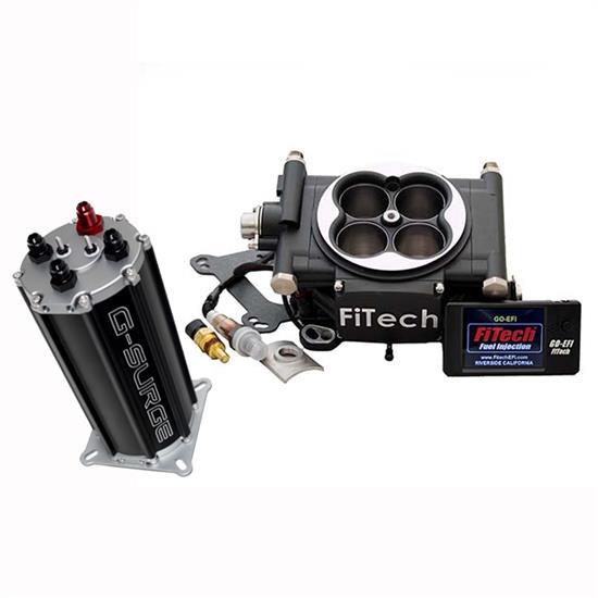 FiTech Go EFI 4 Fuel System Kit w/G-Surge Tank, 600 HP, Black