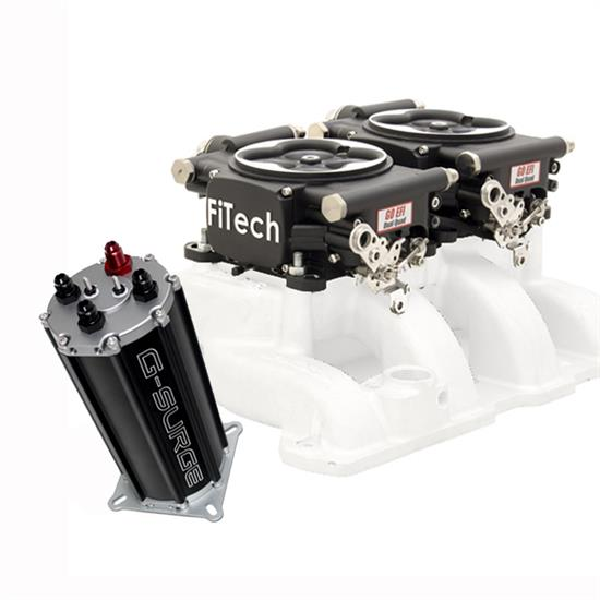 FiTech Go EFI 2x4 Dual-Quad Fuel Injection Syst. Kit w/G-Surge Ta