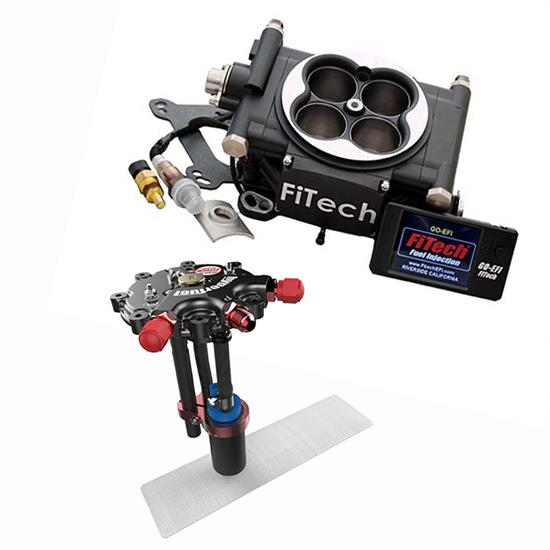 FiTech Go EFI 4 Fuel System Kit w/Hy-Fuel Tank, 600 HP, Black