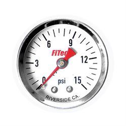 FiTech 80116 Fuel Pressure Gauge, 0-15 PSI