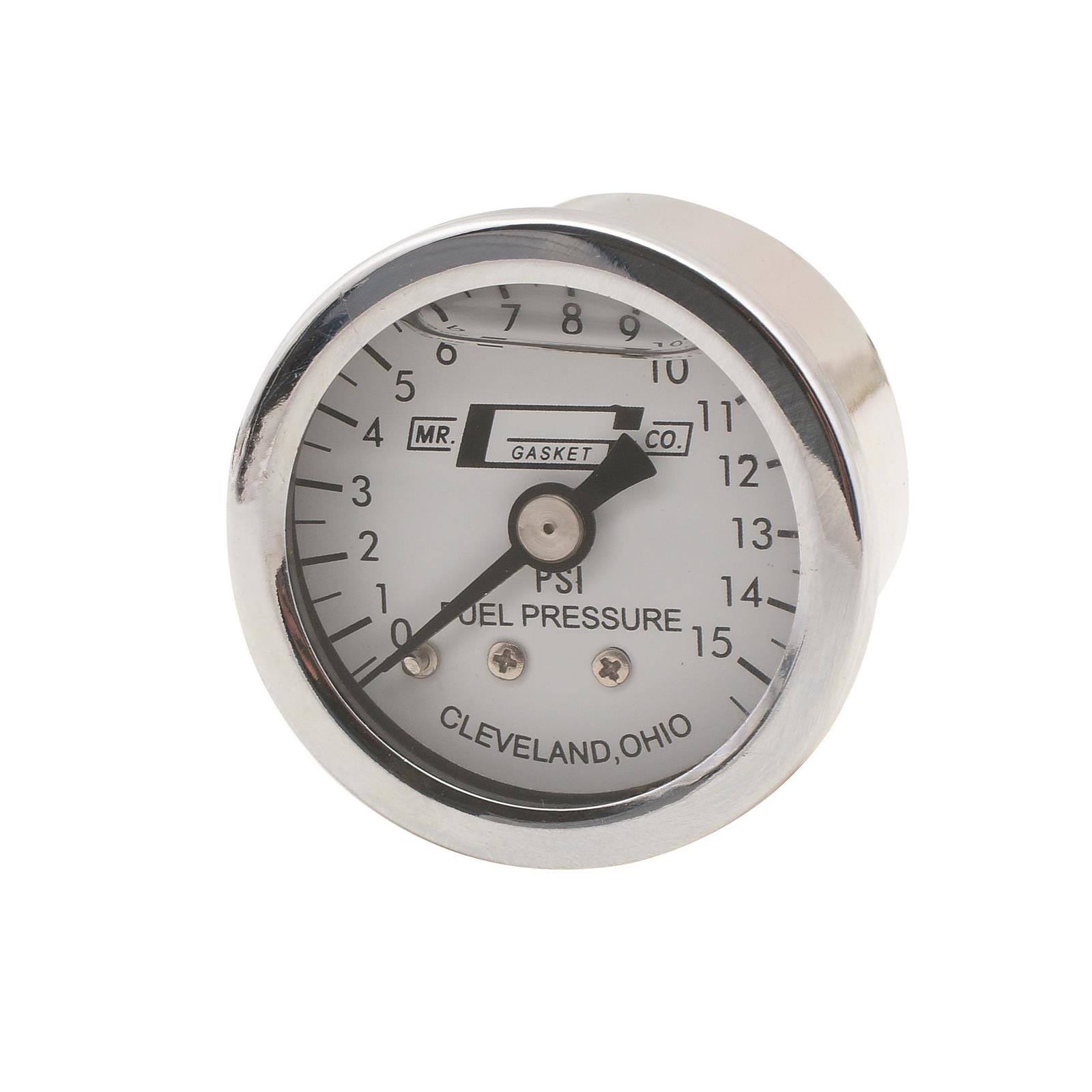 """Holley 26-500 0-15 psi 1 1//2/"""" Analog Fuel Pressure Gauge White Face Mechanical"""
