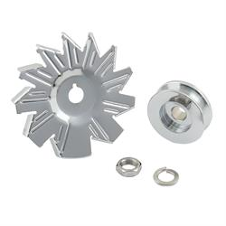 Mr Gasket 6808 Chrome Alternator Fan & Pulley, Single Groove