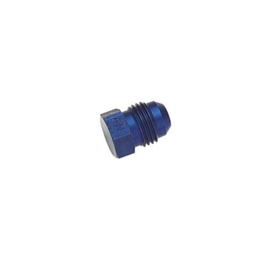 Aluminum Flare Fitting Plug, Blue, -6 AN