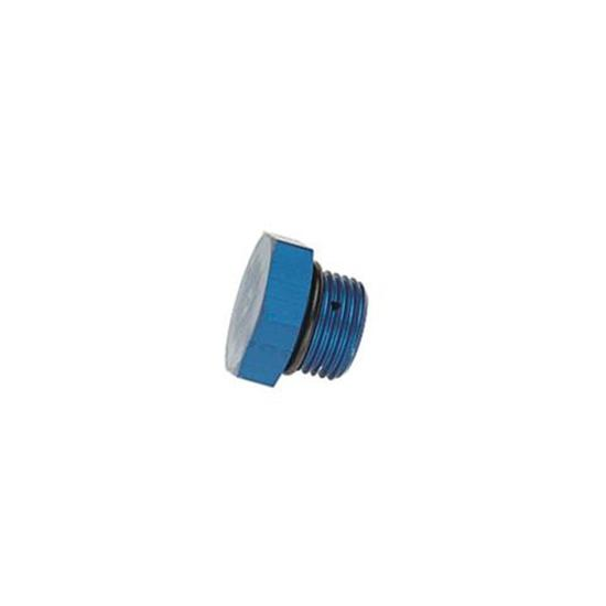 Aluminum Straight Thread Fitting Plug, Blue, -6 AN