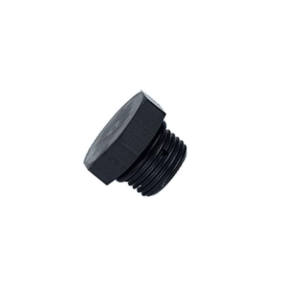 Aluminum Straight Thread Fitting Plug, Black, -12 AN
