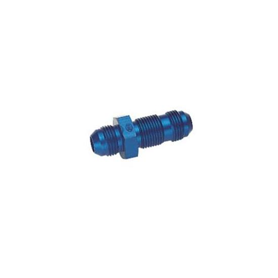 Straight Aluminum Bulkhead Flare Fitting, Blue, -6 AN