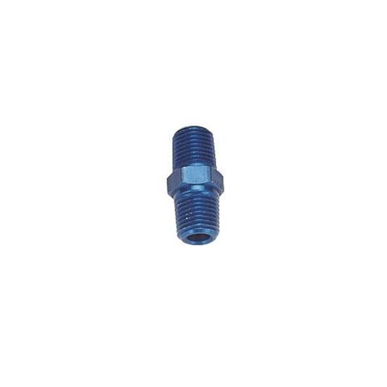 Threaded Male Pipe Nipple Coupler Fitting, 1/4 Inch NPT, Blue Anodized