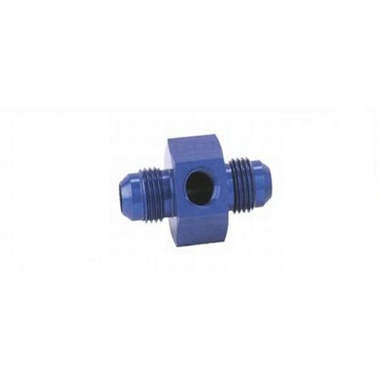 Inline Fuel Pressure Adapter, -6 AN to -6 AN w/ 1/8Inch NPT, Blue
