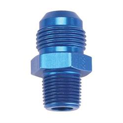 Blue Straight AN10 Flare Adapter to 3/8 Inch Aluminum Pipe Fitting