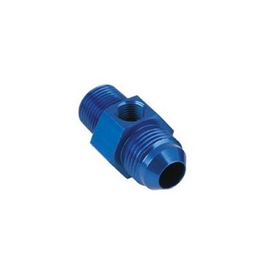 Inline Fuel Pressure Adapter, -6 AN to 3/8 Inch NPT w/1/8 In NPT Port