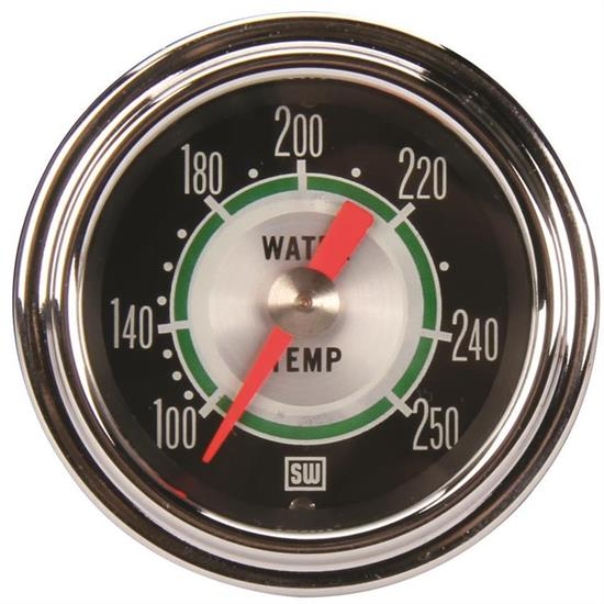 Stewart Warner 361AT72 Green Line Mech Water Temp Gauge 2-1/16 Inch