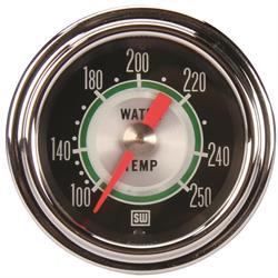 Stewart Warner 361AT72 Green Line Mech Water Temp Gauge 2-1/16 Inch