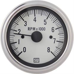 Stewart Warner 82170-WHT Electric Deluxe Tachometer, 3-3/8 In