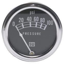 Stewart Warner 82209 Std 2-1/16 In. Mech Oil Pressure Gauge, 0-100 PSI