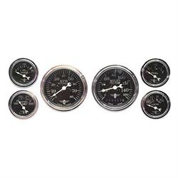 Stewart Warner 82223 Wings Six Gauge Set, Electric, Black Face
