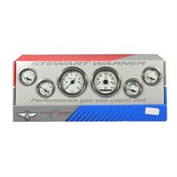 Stewart Warner 82266 White Deluxe Electrical Gauge Kit