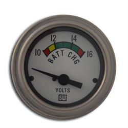 Stewart Warner 82309-WHT Deluxe Voltmeter Gauge, 2-1/16 Inch
