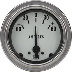 Stewart Warner 82311-WHT Deluxe Ammeter Gauge, 2-1/16 Inch