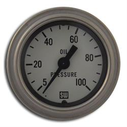 Stewart Warner 82323-WHT Deluxe Mechanical Oil Pressure Gauge