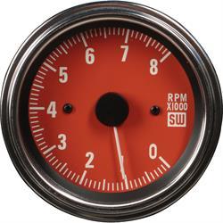 Stewart Warner 82787 Deluxe Sidewinder Tachometer, 0-8K RPM, Red
