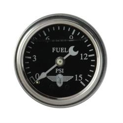Stewart Warner 838134 Liquid Filled Pressure Gauge, 15 PSI, Black