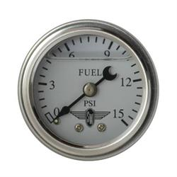 Stewart Warner 838135 Liquid Filled Pressure Gauge, 15 PSI, White
