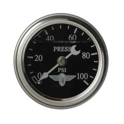 Stewart Warner 838136 Liquid Filled Pressure Gauge, 100 PSI Black