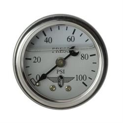 Stewart Warner 838137 Liquid Filled Pressure Gauge, 100 PSI White